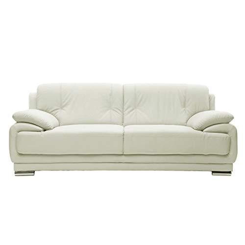 Miliboo - Sofá cuero diseño blanco 3 plazas TAMARA