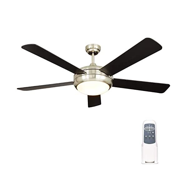 Hykolity 52 Inch Indoor Brushed Nickel Ceiling Fan with Dimmable Light Kit and Remote...