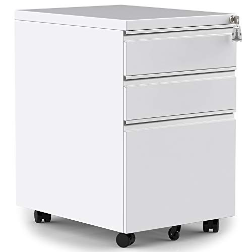Merax 3-Drawer Mobile File Cabinet with Keys, Fully Assembled Except Casters (White)