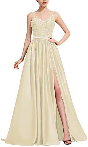 HUINI Ballkleider A-Linie Vintage Abendkleider Hochzeitskleider Damen Prinzessin Spitzen Brautkleider Empire Kleider Champagne 34