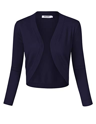 KOJOOIN Damen Bolero Kurze Strickjacke3/4 Ärmel Cardigan V Ausschnitt Bolerojacke Schulterjacke Casual Top Navy Blau S