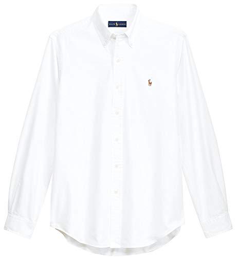 Ralph Lauren Men Solid Sport Oxford Shirt (L, Basic Ralph Lauren White)