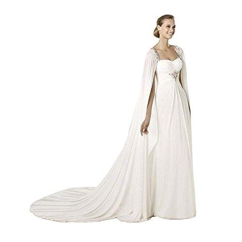 Kengtong Frauen 200CM Weiß Chiffon Hochzeits Umhang Brautcape Brautjacke Damen Brautstola Bolero (White, 200cm)