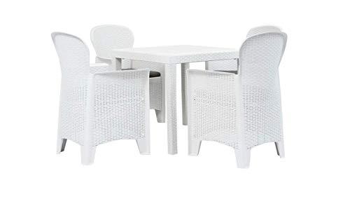 Tomaino Sedie e Tavolo da Giardino in plastica Simil Rattan (Bianco)
