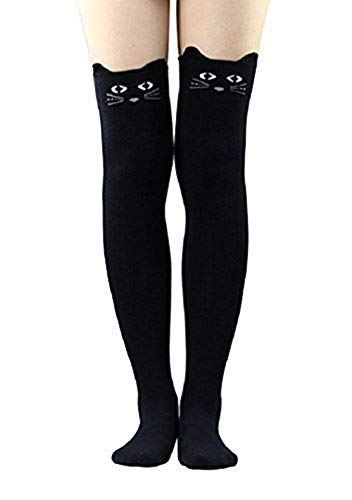 Live it estilo it para mujer Cat Bear Cartoon largo calcetines rodilla alta medias negro azul gris Negro Black Cat Talla ̼nica