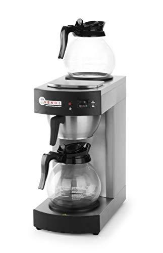 HENDI Kaffeemaschine, Schnellfiltersystem, für gemahlenen Filterkaffee, mit 25 Papierfilter, Unten und oben eine Warmhalteplatte, 2 Glaskannen von 1,8L, 230V, 2100W, 195x370x(H)430mm, Edelstahl