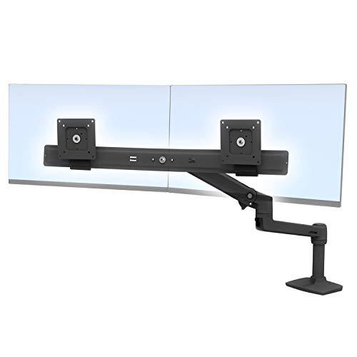 LX Dual Direct Monitor Arm in Schwarz - Monitor Tischhalterung mit patentierter CF-Technologie für 2 Bildschirme bis 27 Zoll, 33cm Höhenverstellung, VESA Standard und 10 Jahre Garantie