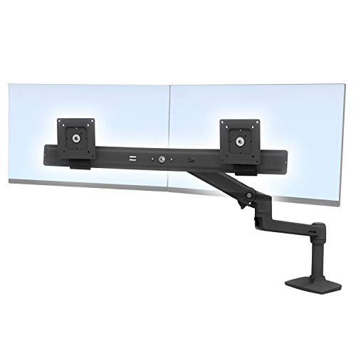 Ergotron 45-489-224 Lx Desk Dual Direct Arm - Mounting Kit (Articulating Arm, Desk Clamp Mount, 2 Pivots, Mounting Hardware, Dual Displays Bow, 7 Inch, Black