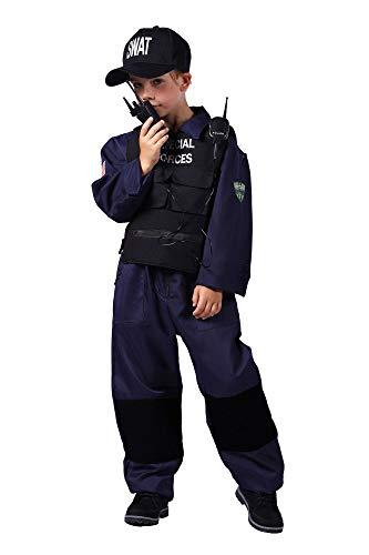 shoperama 4-teiliges SWAT Special Forces Kinder-Kostüm für Jungen Overall Weste Kappe Funkgerät Agent Spezialeinheit, Größe:116