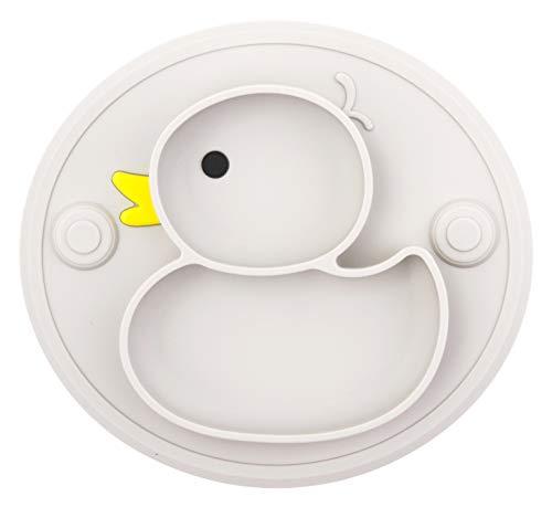 Baby Teller Rutschfeste Saugfütterungsplatte für Kleinkinder Babys Kinder Tischset mit Saugnäpfen BPA-frei, FDA-geprüft, Spülmaschinen-und mikrowellengeeignet (Grau Welpe)