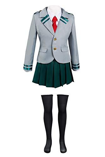 Girls My Hero Academia Cosplay Uniform Outfit Halloween Boku no Hero Academia School Dress Costume (Large, Grey)