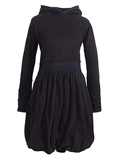 Vishes - Alternative Bekleidung - Langarm Damen Eco Fleecekleid Winterkleid Kapuzenkleid Ballonkleid schwarz 40
