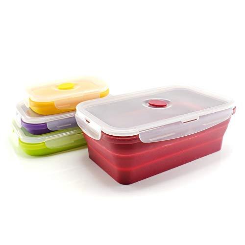 Lot de 4 boites en silicone hermétiques, rétractables, pliables, sans BPA, passent au micro-ondes, lave-vaisselle et congélateur - Rouge