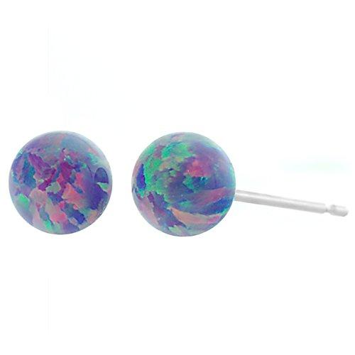 Trustmark 14K White Gold 6mm Lavender Synthetic Opal Ball Stud Post Earrings
