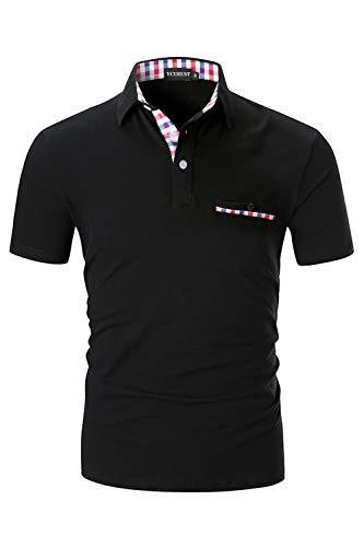 YCUEUST Homme Coton Lattice Manches Courtes Polo Casual Basic Tennis Golf Poloshirt Noir Large