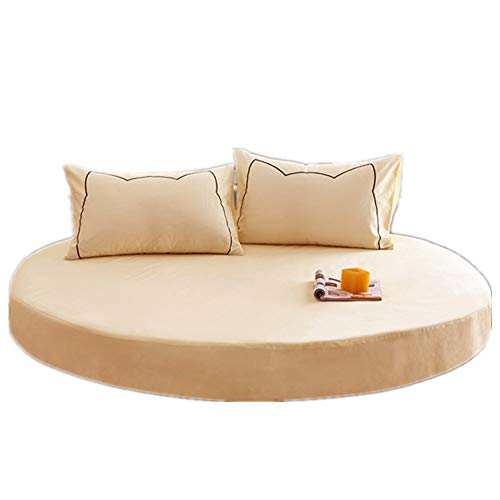YFYJ 100prozent Baumwolle Bettlaken R&e Atmungsaktive Blätter Tagesdecke für Matratze Mit 2m/2.2m Durchmesser Komfortable, Ges&e Bettwäsche für Hotels Beige 2m Durchmesser