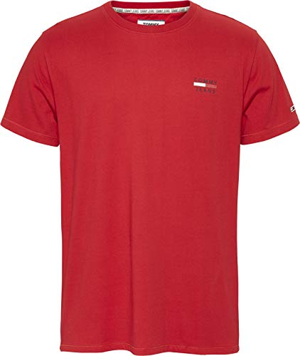 Tommy Hilfiger TJM Chest Logo tee Camiseta, Rojo (Deep Crimson), Medium para Hombre