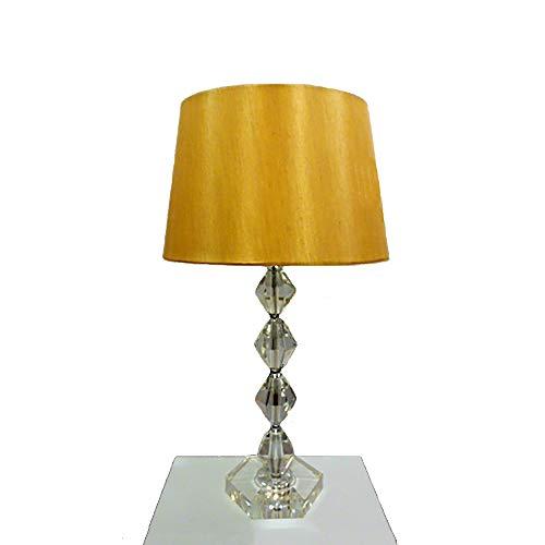 Dapo Tischleuchte mit LED Leuchtmittel, Lampe mit Kristallfuß und Seiden - Stoffschirm, Kristallleuchte Tischlampe (klar-Gold, Kary 54 cm)