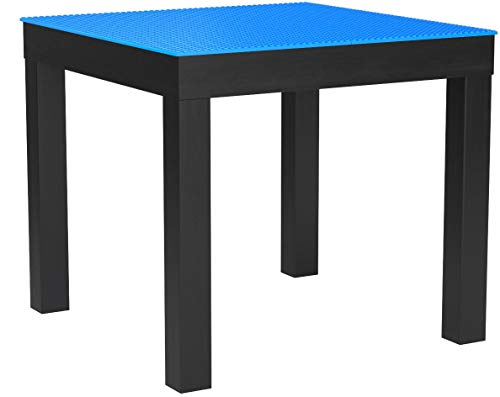 SleekSquare Building Activity Play Table Compatible with Lego, Mega Blok and Kre-O (Blue)
