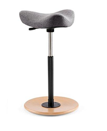 Move - Stehhilfe und Hocker/Grau mit Holzteller Natur lackiert