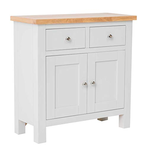 RoselandFurniture Farrow Grey Mini Sideboard Storage Cabinet with Drawers & Oak | Small Painted Solid Wooden 2 Door Cupboard for Dining Room, Living Room or Hallway | Fully Assembled
