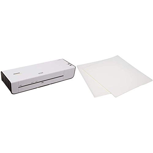 AmazonBasics Thermal Laminator Machine & Thermal Laminating Plastic Laminator Sheets - 8.9 Inch x 11.4 Inch, 50-Pack