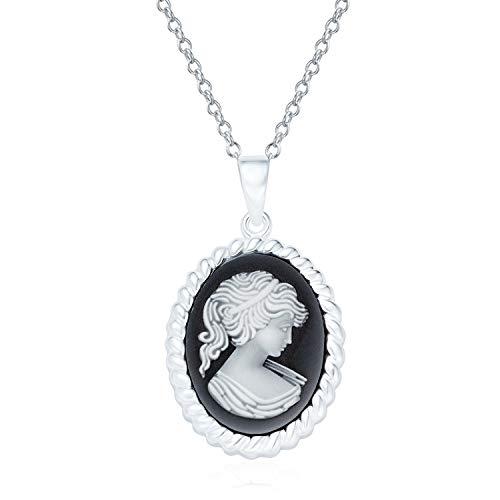 Estilo Vintage simulado negro ónix Craved oval victoriano señora doncella Cameo collar colgante para las mujeres 925 plata esterlina marco marco retrato