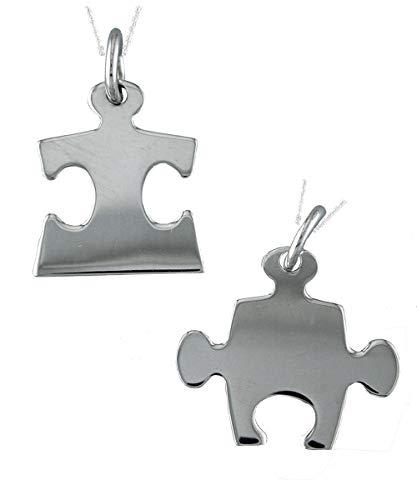 Alylosilver Collar Colgantes Piezas de Puzzle de Plata para Hombre Mujer - Colgante Tú y Yo Incluye Dos Cadenas de Plata de 45 cm y Estuche para Regalo