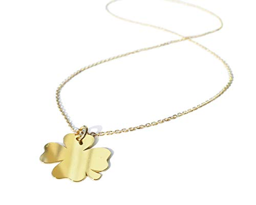 Ah! Jewellery Ladies Four Leaf Lucky Clover Petiole Pendant Necklace. Celebrity Style. 24K Gold over Sterling Silver. Stamped 925. 45cm Chain Included. 10 Year Guarantee.