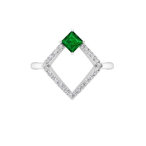 Anillo de esmeralda creado en laboratorio con corte princesa de 4x4 mm, anillo de diamante HI-SI de 1,2 mm, anillo de compromiso de oro (calidad AAAA), 14K Oro amarillo, Size:EU 47