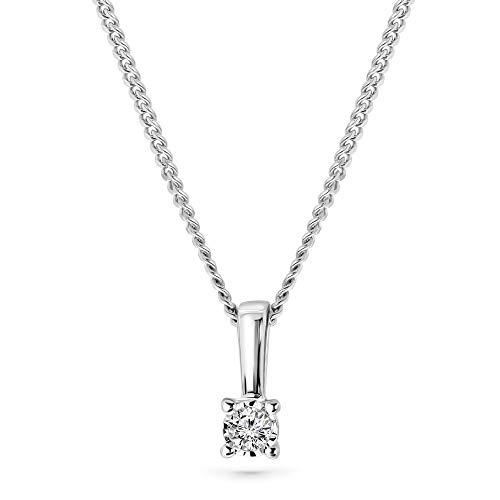 Miore Kette Damen 0.03 Ct Diamant Halskette mit Anhänger Solitär Diamant Brillant Kette aus Weißgold 9 Karat / 375 Gold, Halsschmuck 45 cm lang