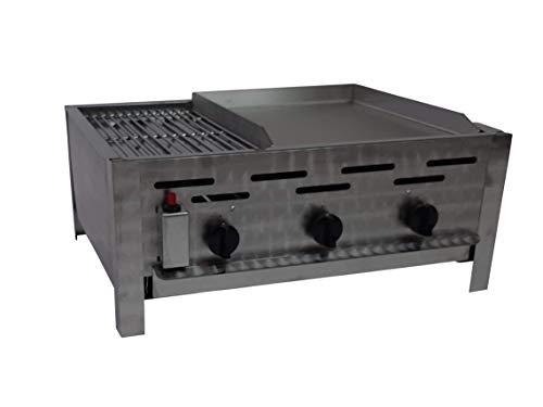 Gasgrill/Gastrobräter 3-flammig mit Rost und Edelstahl Plancha - geteilter Grillfläche