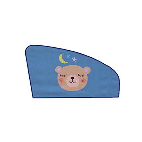Yuanu 2 Stück Sonnenschutz Auto Baby 3 in 1 Stoff Universal Sonnenblende Auto Magnetische Adsorption Cartoon-Druck für Kinder Baby Haustier UV-Strahlen, Sonnenlichtschutz Blau 26# 80CM*50CM