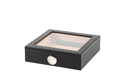 BigSmoke Humidor de Puros - Caja de Madera con Exterior de Cedro, Humidificador e Higrómetro Magnético de Latón - Caja Hermética con Tapa de Vidrio, Divisor y Bisagras - 30 Puros - Negro