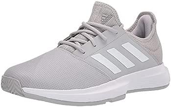 adidas Men's Gamecourt Tennis Racquetball Shoe, Grey/White/Silver Metallic, 9.5