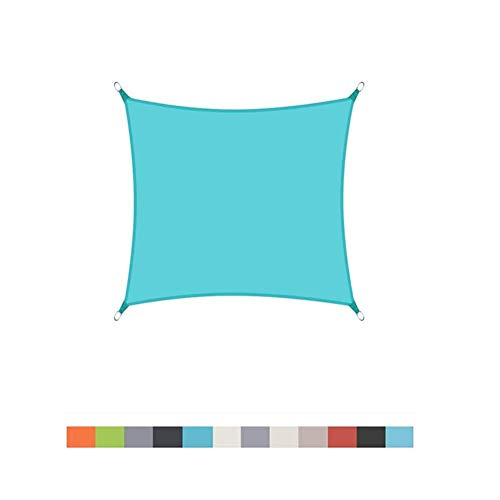 LINGXING Toldo De Sombra Rectangular, Resistente Al Agua, Patio, Jardín, Toldo, 96,5%, Bloque UV con Cuerda Libre (3X5m,Azul Claro)