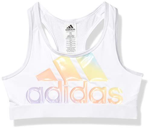 adidas Girls' Big Gym Sports Bra, Iridescence White, Small