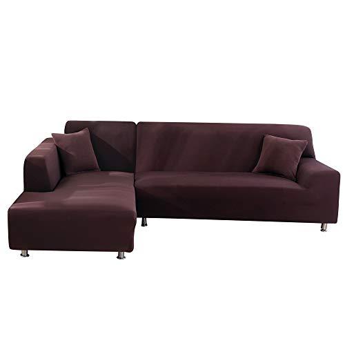 SearchI Fundas Sofa Elasticas Chaise Longue,Extraíbles y Lavables,Moderno Cubre Sofa Chaise Longue Universal Fundas Protectora para Sofa contra Polvo en Forma de L 2 Piezas(Cafe,2 Plazas+3 Plazas)