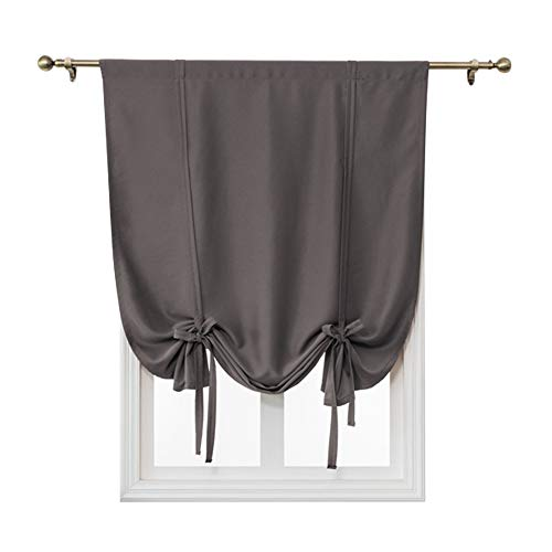 ele ELEOPTION Tie-Up Simple Blackout Curtain, Rod Pocket Thermal Insulated Room Darkening Roman Shade for Bedroom Living Room Kitchen Small Window (Dark Gray, 117x137cm)