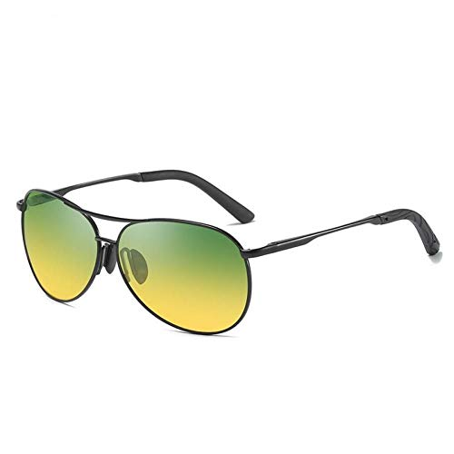 SHENY Nuevos Gafas De Sol Hombres Camaleón Gafas Polarizadas Cambiar Color Marca Gafas De Sol Día Visión Nocturna Gafas De Conductor 8013 Darkgreen Black