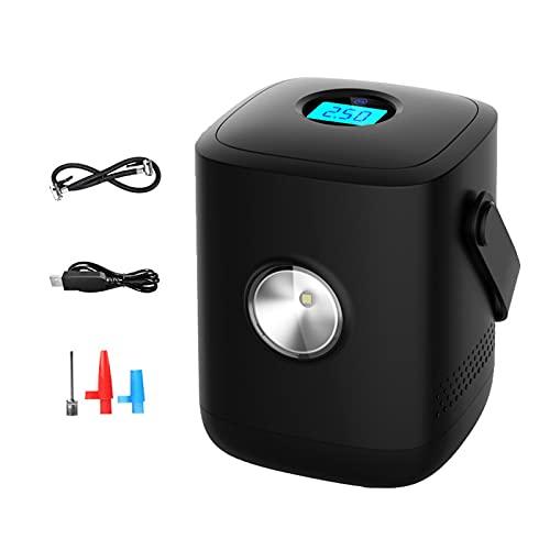 SUNGW Bomba Inflador Neumático Compresor Aire Automóvil,Eléctrico Portátil USB Bomba Aire Recargable,Digital LCD Pantalla Y LED Luz,para Motocicletas,Bicicletas Y Otros Inflables. (Color : Black)