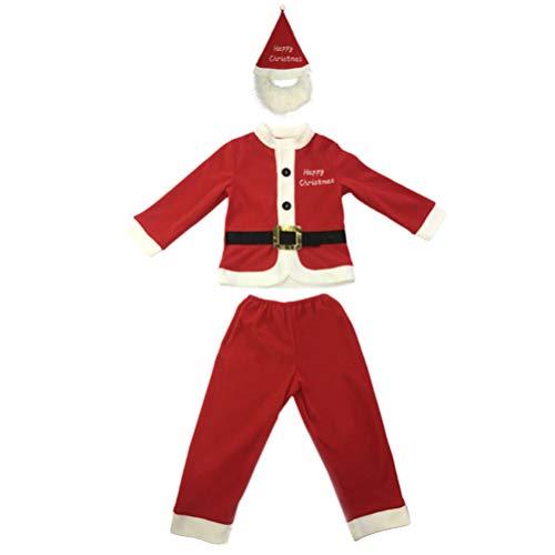 VALICLUD Conjuntos de Disfraces de Navidad Poliéster Cosplay Traje de Santa Claus Sombrero Pantalones para Hombres Mujeres Niños Disfraces de Fiesta (Rojo L)