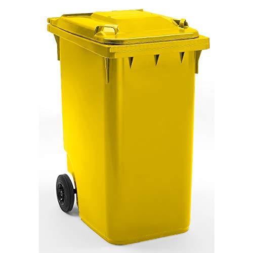 SSI Schäfer Großmülltonne aus Kunststoff, nach DIN EN 840 - Volumen 360 l, HxBxT 1100 x 600 x 874 mm, Rad-Ø 200 mm - gelb - Abfallbehälter Abfallbehälter für außen Abfallsammler Abfalltonne Abfalltonnen Großmüllbehälter Großmüllbehälter aus Kunststoff
