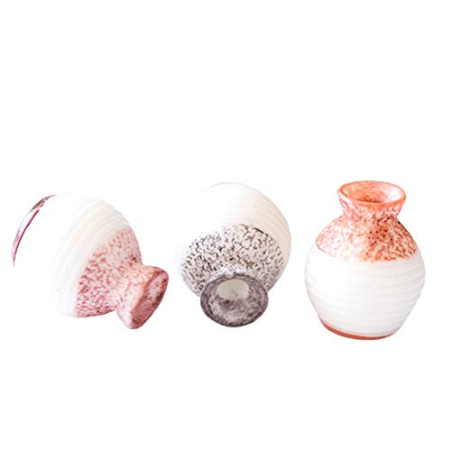 Yiifunglong Dollhouse 3Pcs 1/12 Scale Miniature Scenery Accessory Resin Slender Vases Succulents Ornaments for Micro Landscape - A