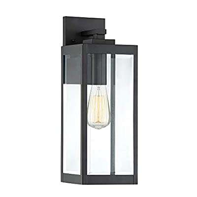 """Quoizel WVR8406A Westover Modern Industrial Outdoor Wall Sconce Lighting, 1-Light, 100 Watt, Antique Brass (17""""H x 6""""W)"""