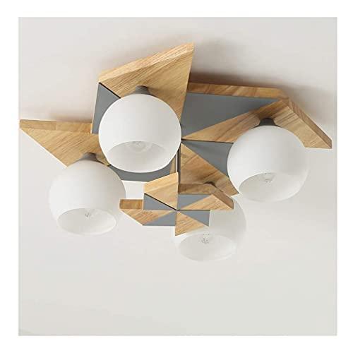 Sunmong Lampada da soffitto nordica Macaron Camera da Letto Lampada Creativa Plafoniera Moderna in Legno massello Illuminazione Plafoniere a LED da Incasso (Colore : Grigio)