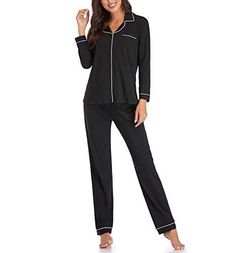 Womens Pajamas Set, Long Sleeve Sleepwear Button Down PJ Set Soft Comfy Lounge Sets Pajamas for Women