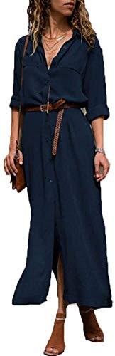 Mujer Vestido Camisero Vestido con Cuello En V Camisa Manga Larga con Botones Moda Vestido Casual Camisa Vestido Túnica