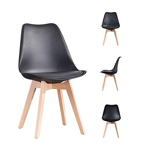 MeillAcc Silla de comedor clásica moderna, 4 piezas de lino patchwork, sala de estar, dormitorio y estudio (negro, 4)