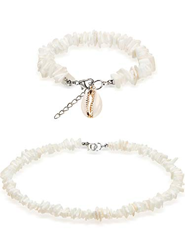 meekoo 2 Pieces Puka Shell Necklace White Clam Chips Shell Anklets Surfer Beach Choker Necklaces Ankle Bracelets 18 inch Hawaiian Tropical Jewelry (Style A)